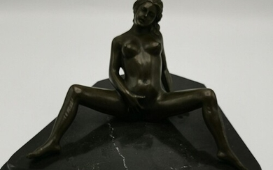 BRONZE Large NUDE EROTIC LADY FIGURINE (Please Note This Lot...