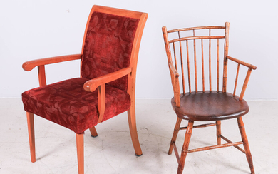 Bamboo form Windsor chair, Contemporary upholstered armchair
