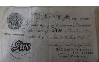 Bank of England V16 080299 white £5 note, dated July 12th Lo...