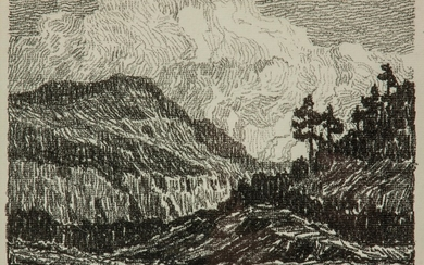 Birger Sandzen 'Sunset in the Mountains' Lithograph