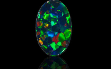 """Black """"Nobby"""" Opal with Multi-color Fire"""