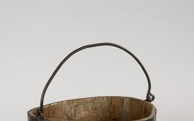 Bucket made of monoxyl pine, iron rimmed and...
