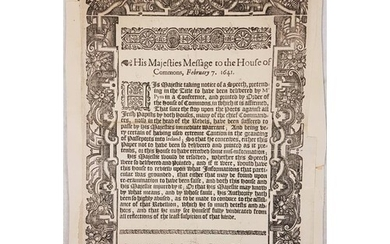 Charles I.: His Majesty's Message to the House of Commons, ...