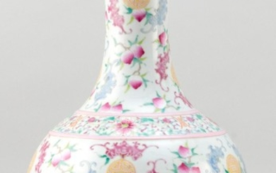"""CHINESE POLYCHROME PORCELAIN VASE In mallet form, with bat and shou design. Six-character Jiaqing mark on base. Height 17.5""""."""
