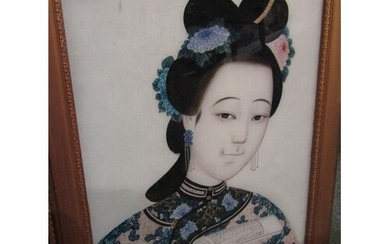 "CHINESE SCHOOL, reverse glass painting, ""Portrait of Young L..."