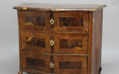 CONTINENTAL SERPENTINE COMMODE, late 18th or early 19th cent...