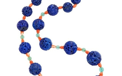 Carved Lapis, Coral and Fluorite Bead Necklace