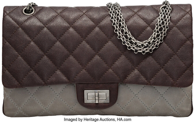 Chanel Brown Quilted Caviar Leather & Gray Quilted Lambskin...