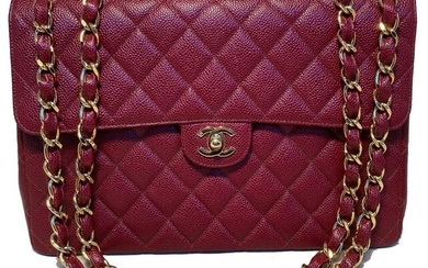 Chanel Quilted Caviar Leather Jumbo Classic Flap Bag