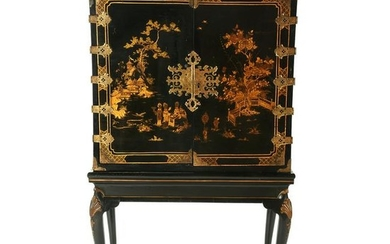 Chinese Black Lacquer Cabinet on Stand