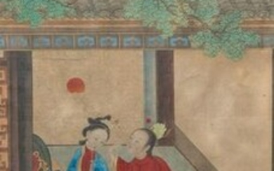 Chinese school, ink and colour on silk, 18th C.: 'The making up of lady'
