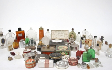 Collection of perfume flasks, powder boxes and others, approx. 1900s-1950s