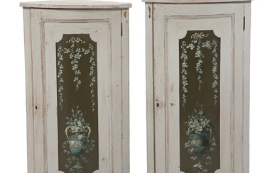 NOT SOLD. A pair of narrow Louis XVI style painted and decorated corner cupboards. 19th/20th...