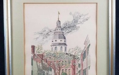 Cornhill Street Old Annapolis Ink and Watercolor Framed