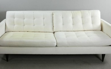 Cream Upholstered Crate and Barrel Sofa