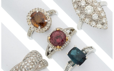 Diamond, Multi-Stone, Gold Rings This lot includes five rings:...
