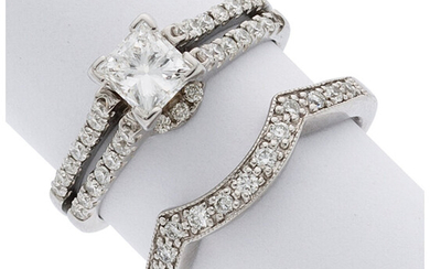 Diamond, White Gold Ring Set The ring set features...