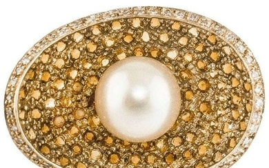 Diamonds Topazes Pearl Rose Gold Concave Shape Ring