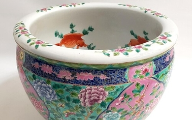 EARLY 20TH CENTURY CHINESE PORCELAIN FISH BOWL decorated in ...