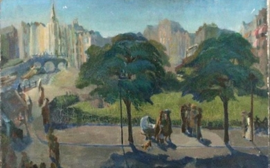 ELLA GABRIELE MARGULES Oil/c Figures City Park w/ Label