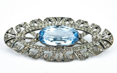 Edwardian Sterling Silver and Paste Brooch