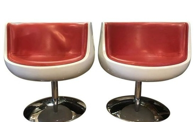 Eero Aarnio Contemporary Red Leather, Cognac and chrome