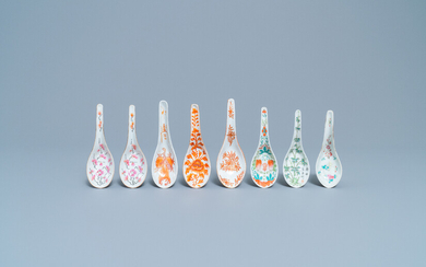 Eight Chinese famille rose and polychrome spoons, 19/20th C.