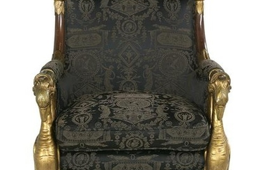 Empire-Style Mahogany and Parcel-Gilt Bergere