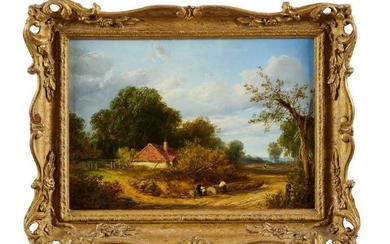 English School, mid 19th century, oil on panel, rural landscape, indistinctly signed. 21 x 29cm