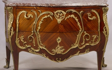 """FRENCH BOMBE MARBLE TOP COMMODE, C. 1880, H 52"""", L 35"""""""
