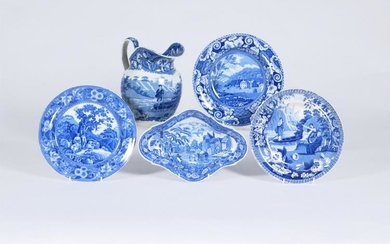 Five items of Staffordshire blue and white printed pottery