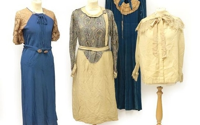 Four Circa 1920's-1930's Day Dresses, comprising a stylish cream and...