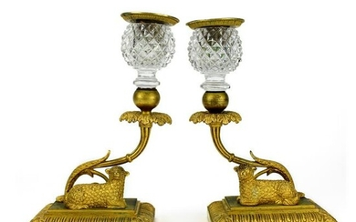 """French Dore Bronze & Crystal 7"""" Candlesticks PAIR"""