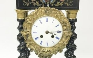 French Empire Style Wood & Boule Column Clock