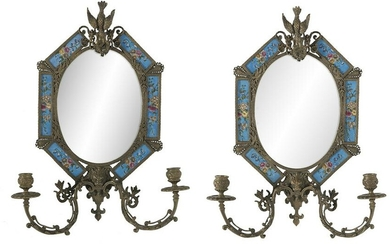 French-Style Bronze & Porcelain Mirrored Sconces