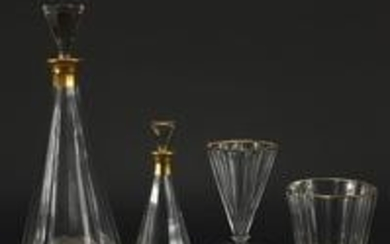 French cut glass glassware by Baccarat including two