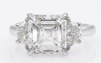 GIA 3.65ct Estate Vintage Asscher Diamond 3 Stone