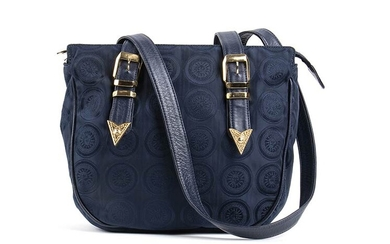 GIANNI VERSACE CANVAS BAG 90s Dark blue logo canvas bag,...
