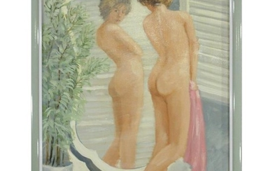 George Shelly, NJ Artist, Nude Girl Standing at Mirror