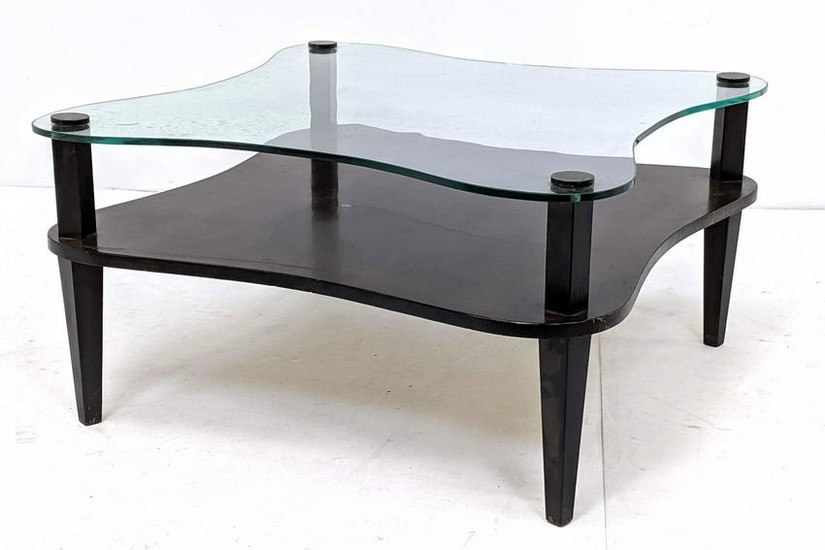 Gilbert Rohde Style Two Tier Table. Decorator Ebonized