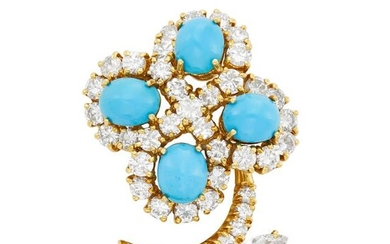 Gold, Turquoise and Diamond Flower Clip-Brooch