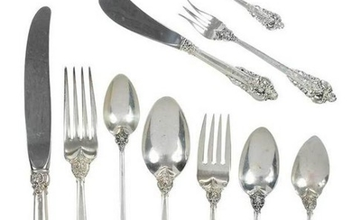 Grand Baroque Sterling Flatware, 119 Pieces
