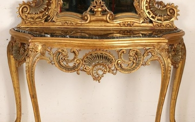 Great Italian gilt wood mirror with console stabbed.
