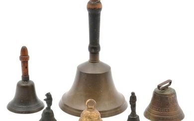 """Grouping of 6 Handheld Bells. Tallest 11 1/4""""."""