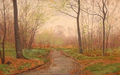 Hans Friis: A forest in spring. Signed and dated H. Friis 1880. Oil on paper laid on masonite. 22.5×35.5 cm.
