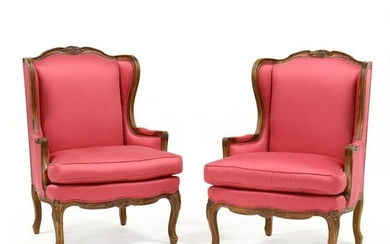 Hickory Chair, Pair of French Style Carved Bergeres