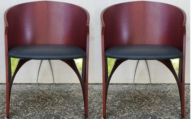 Italian Black Leather Seat Arm Chairs w/Chrome Accents