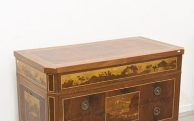 Italian marquetry chest of drawers with 3 large...