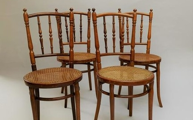 Jacob & Joseph KOHN (1867-?) Ensemble de 4 chaises en