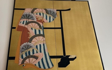 Japanese Gilt Decorated Two Panel Folding Screen, RM2A